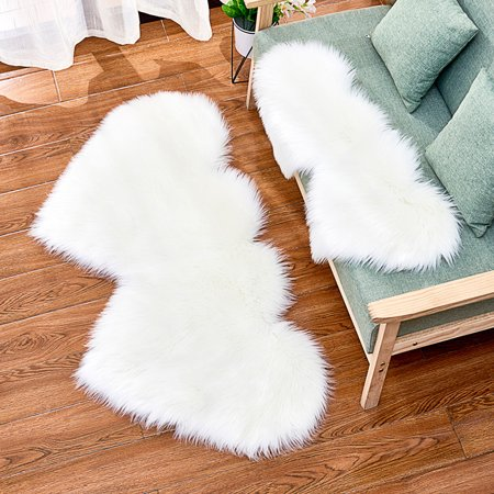 Double Heart-shaped Soft Faux Comfort Sheepskin Rug Mat Carpet Pad Anti-Slip Chair Sofa Cover for Bedroom Decoration](Carpet Covers For Parties)