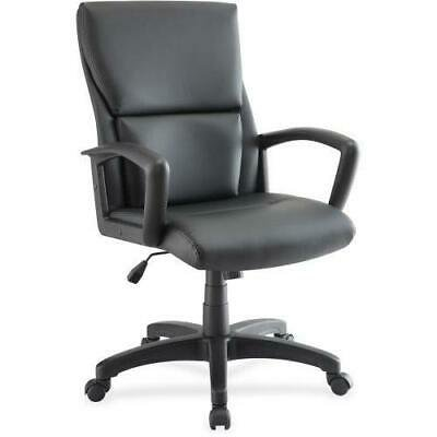 Lorell Euro Design Leather Exec. Mid-back Chair, Black - Exec Stitching Leather