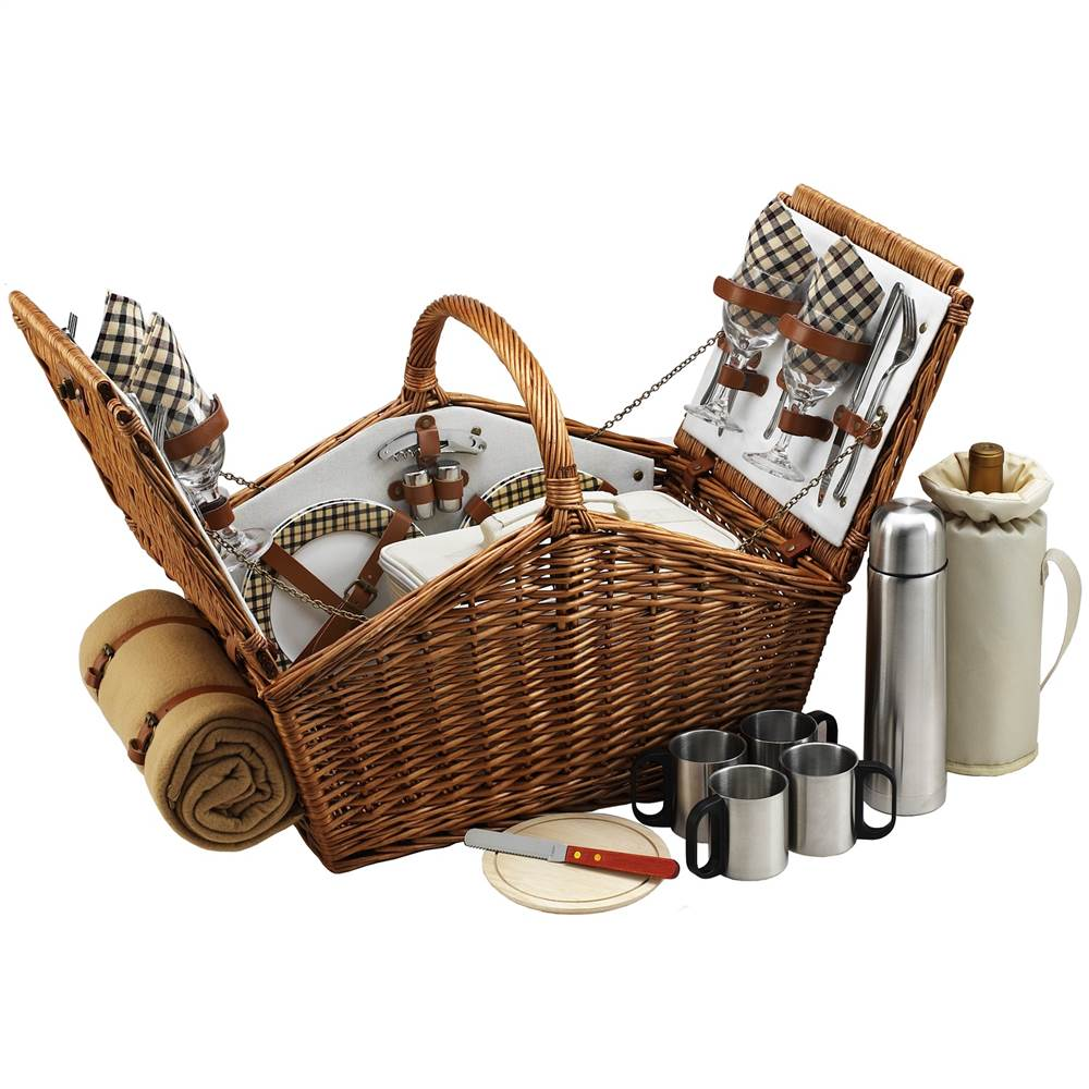 Picnic Basket for Four with Coffee Set and Blanket