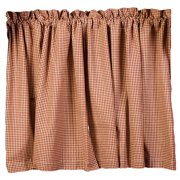 """Burgundy Check Stars and Berries Country Curtain Tiers, 24"""" 30"""" 36"""" Lengths"""