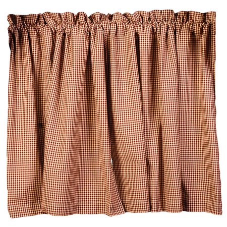 Burgundy Check Stars and Berries Country Curtain Tiers, 24