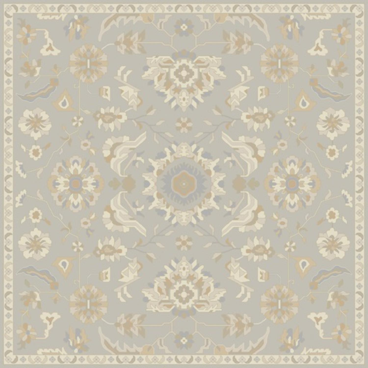 4' x 4' Elegant Leaves Slate Gray and Tan Brown Square Wool Area Throw Rug