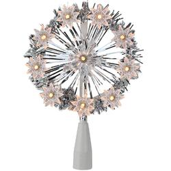 "7"""" Silver Tinsel Snowflake Starburst Christmas Tree Topper - Clear Lights"