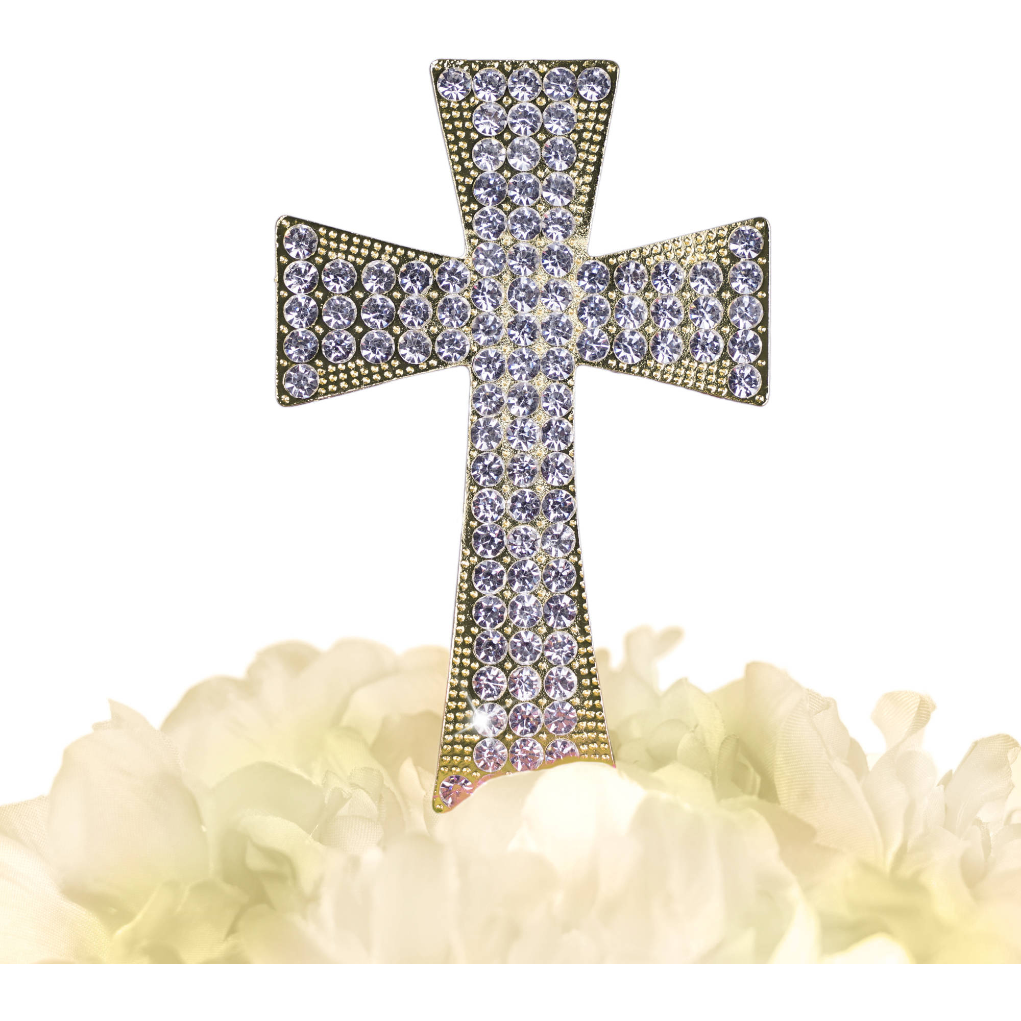 Unik Occasions Sparkling Collection Gold Cross Cake Topper