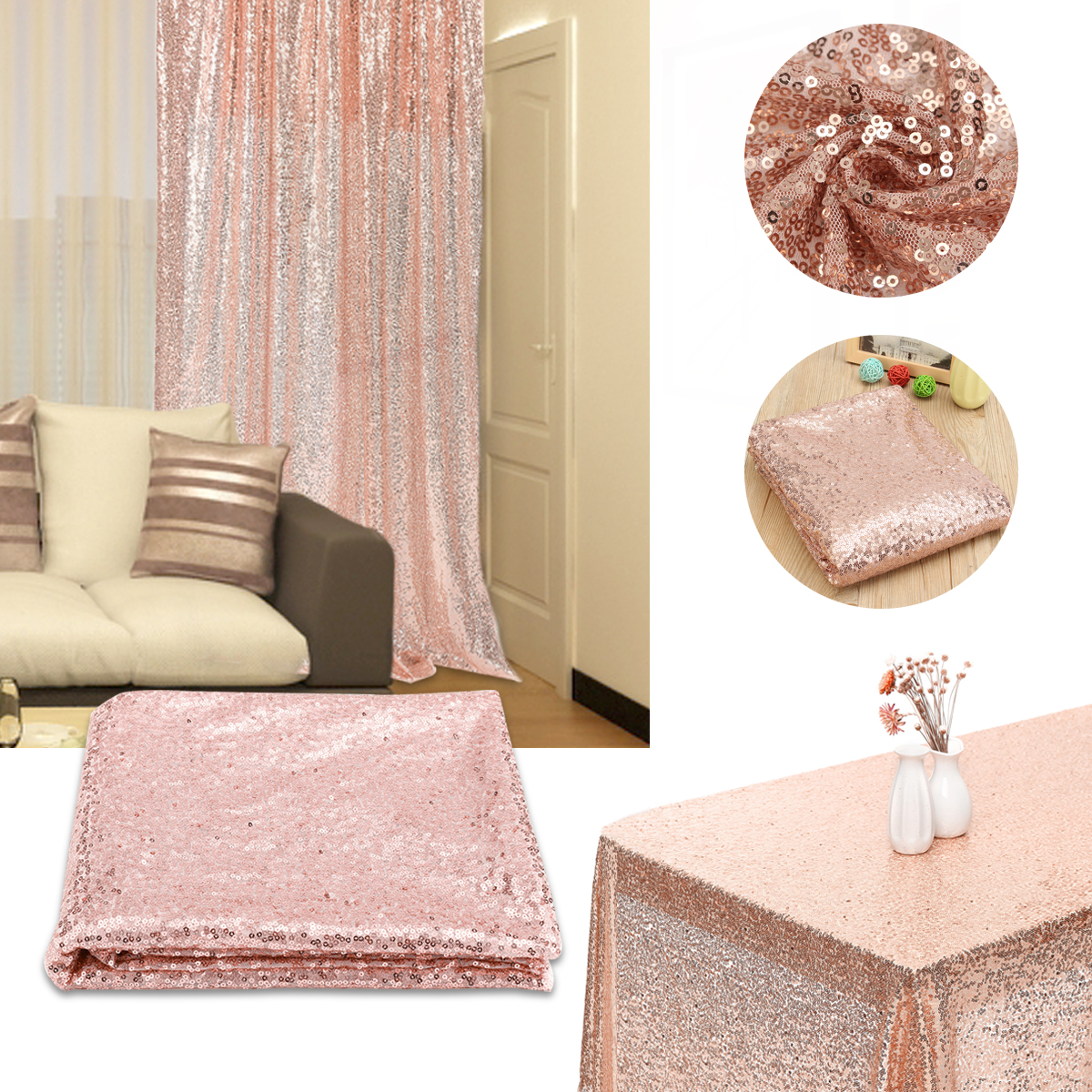 7x7FT Sequin Glitter Table Cloth Cover Curtain Wedding/Party/Banquet Decor Photography Background Backdrop Rose Gold Silver Champagne