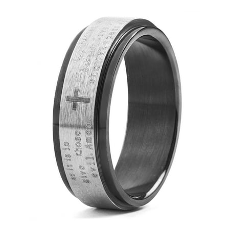 Black Plated Stainless Steel Lord's Prayer Spinner Ring