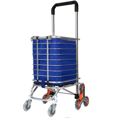 Collapsible Rolling Cart with Wheels for Shopping and Grocery, Folding Utility Cart, Portable Rolling Laundry Basket, Foldable Trolley Roller Cart, Black, Four Wheeled HFON ()
