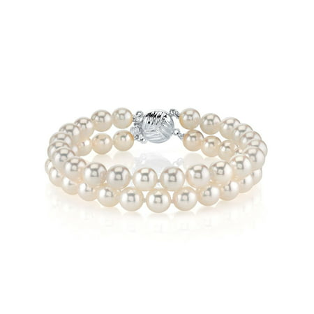 14K Gold 7.0-7.5mm Double Japanese Akoya Saltwater White Cultured Pearl Bracelet - AAA Quality