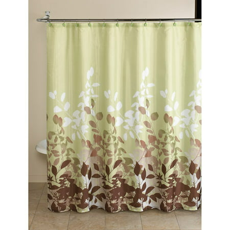 Mainstays green botanical leaf 13 piece bath in a bag set for Green and brown bathroom set