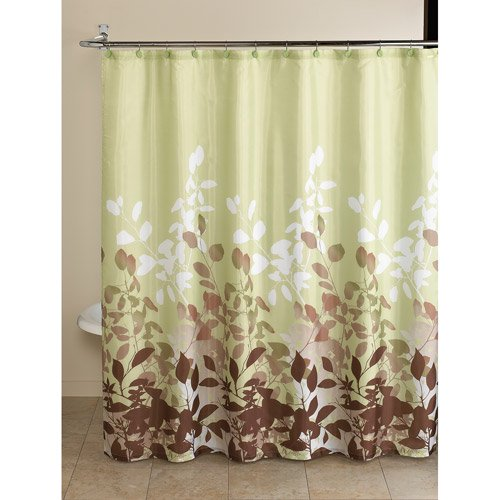 Mainstays Green Botanical Leaf 13 Piece Bath In A Bag Set Shower Curtain And Decorative Hooks Included