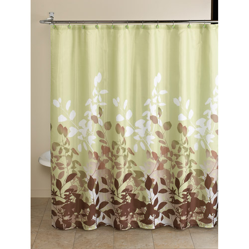 Mainstays Green Botanical Leaf 13-Piece Bath in a Bag Set, Shower Curtain and Decorative Hooks Included
