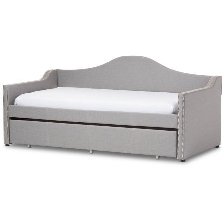 Baxton Studio Prime Modern And Contemporary Upholstered Arched Back Sofa Daybed With Roll Out