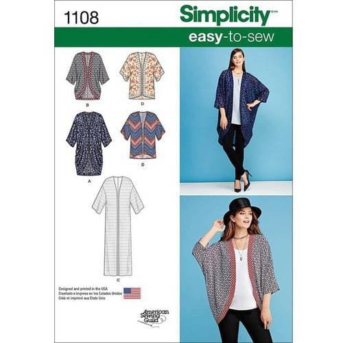 Simplicity Misses' Kimono's In Different Styles-Xxs-Xs-S-M-L-Xl-Xxl