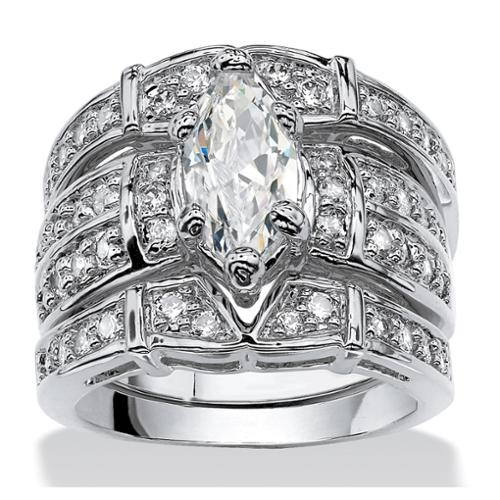 3.05 TCW Marquise-Cut Cubic Zirconia Silvertone Bridal Engagement Ring Wedding Band Set - Size 9