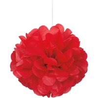 Tissue Paper Pom Poms, 9 in, Red, 3ct
