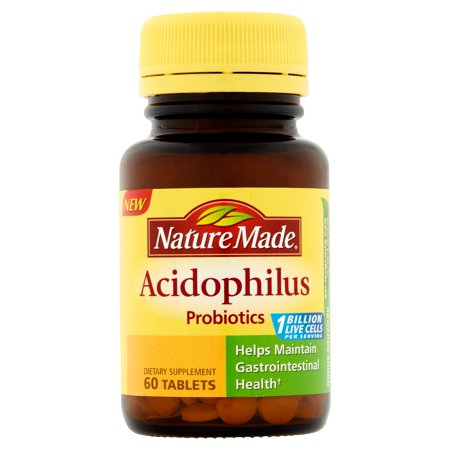 Nature Made Acidophilus Probiotic Dietary Supplement Tablets  60 Count
