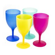4 Pcs Reusable Picnic Goblets Set in Assorted Colors Plastic Wine Cups