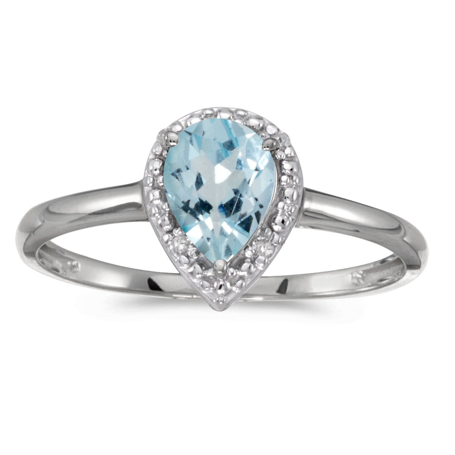 14k White Gold Pear Aquamarine And Diamond Ring by