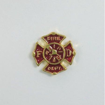 1 PC - Fire Department Fireman Enamel Gold Charm for Floating Locket Jewelry F0120 (Fireman Jewelry)