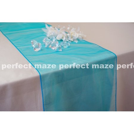 Perfectmaze 12 x 108 Inch Teal Organza Table Runner for Wedding, Party, Engagements, Formal Events Table Decoration ()