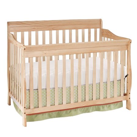 Big Oshi Stephanie 4-In-1 Convertible Crib – Modern, Unisex Wood Design for Boys or Girls – Adjustable Height, Low to High - Convertible to Crib and Day, Toddler or Twin Bed - With Hardware, Natural