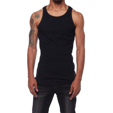 Mens  Premuim Basic  Cotton Workout Ribbed Muscle Tank Top DT09 (S, Black)