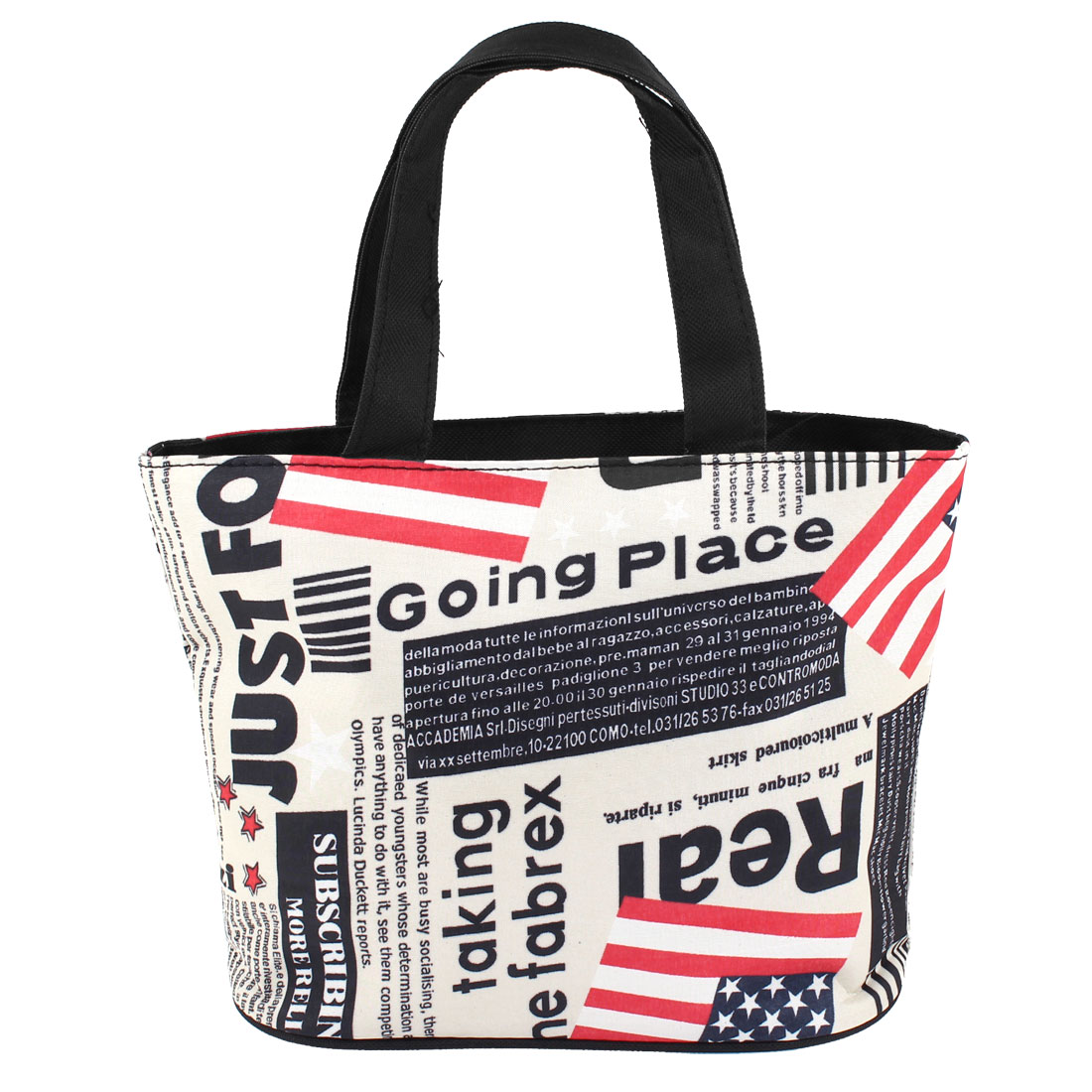 Beige Black Letters Pattern Zip Up Foldable Recycle Shopping Handbag Tote