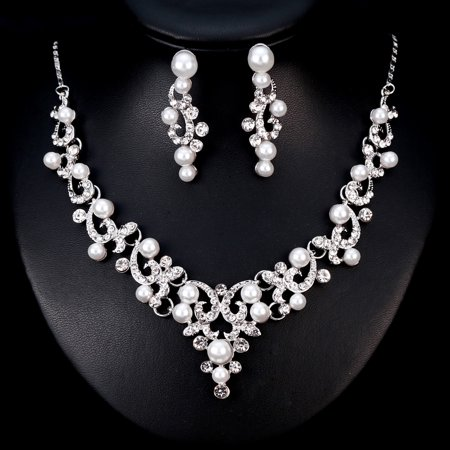 Women Girls Jewelry Set Pearl Rhinestone Pendant Necklace + Earring Eardrop for Banquet Wedding Valentine's Day Gift - image 4 of 8