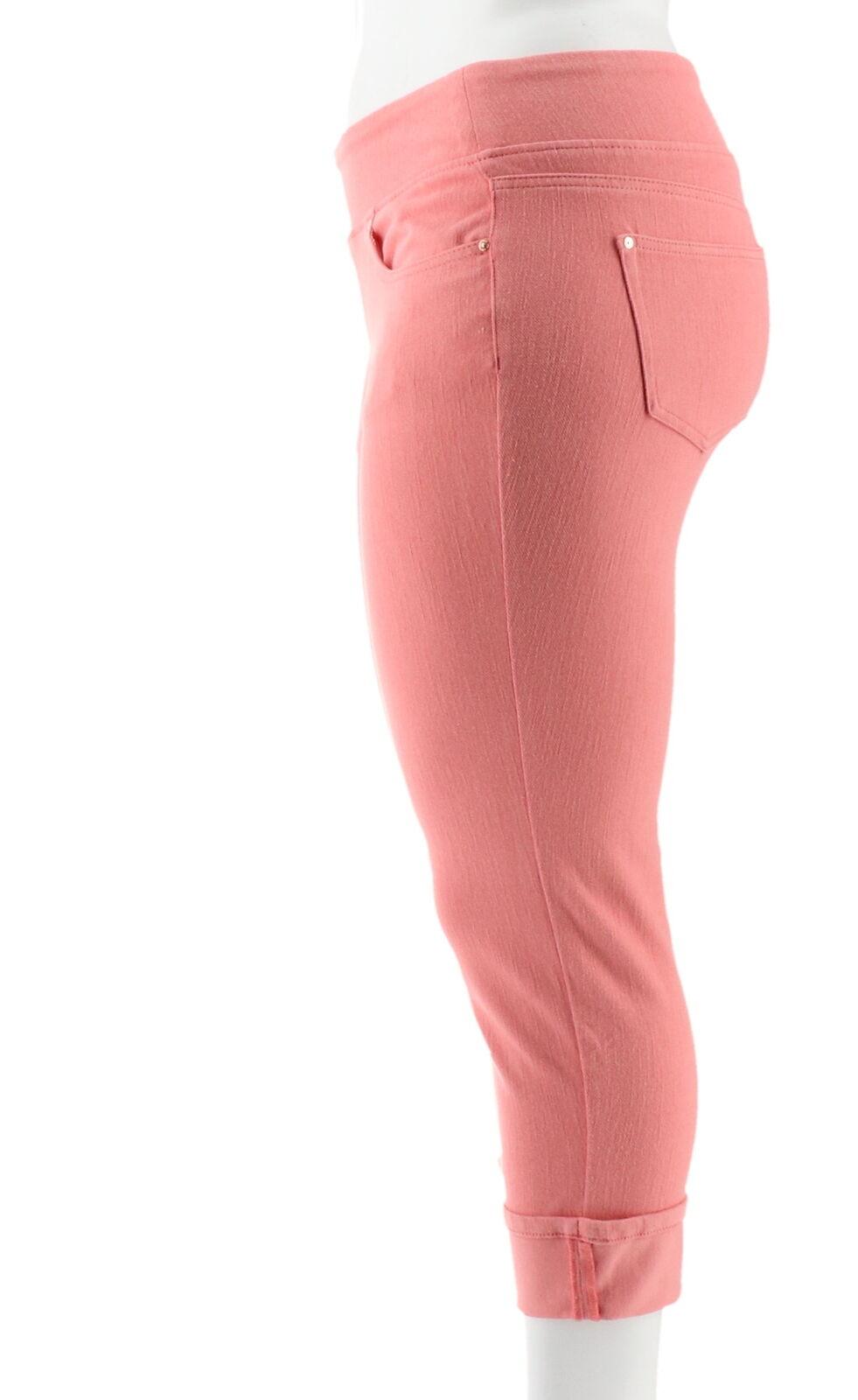 Belle Kim Gravel Flexibelle Cuffed Jeans Sunrise Pink 12 NEW A345862