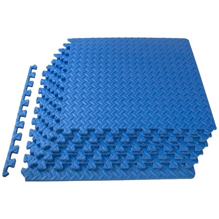 """ProSource Exercise Puzzle Mat ½"""", Interlocking Foam Floor Mat, Blue ..."""