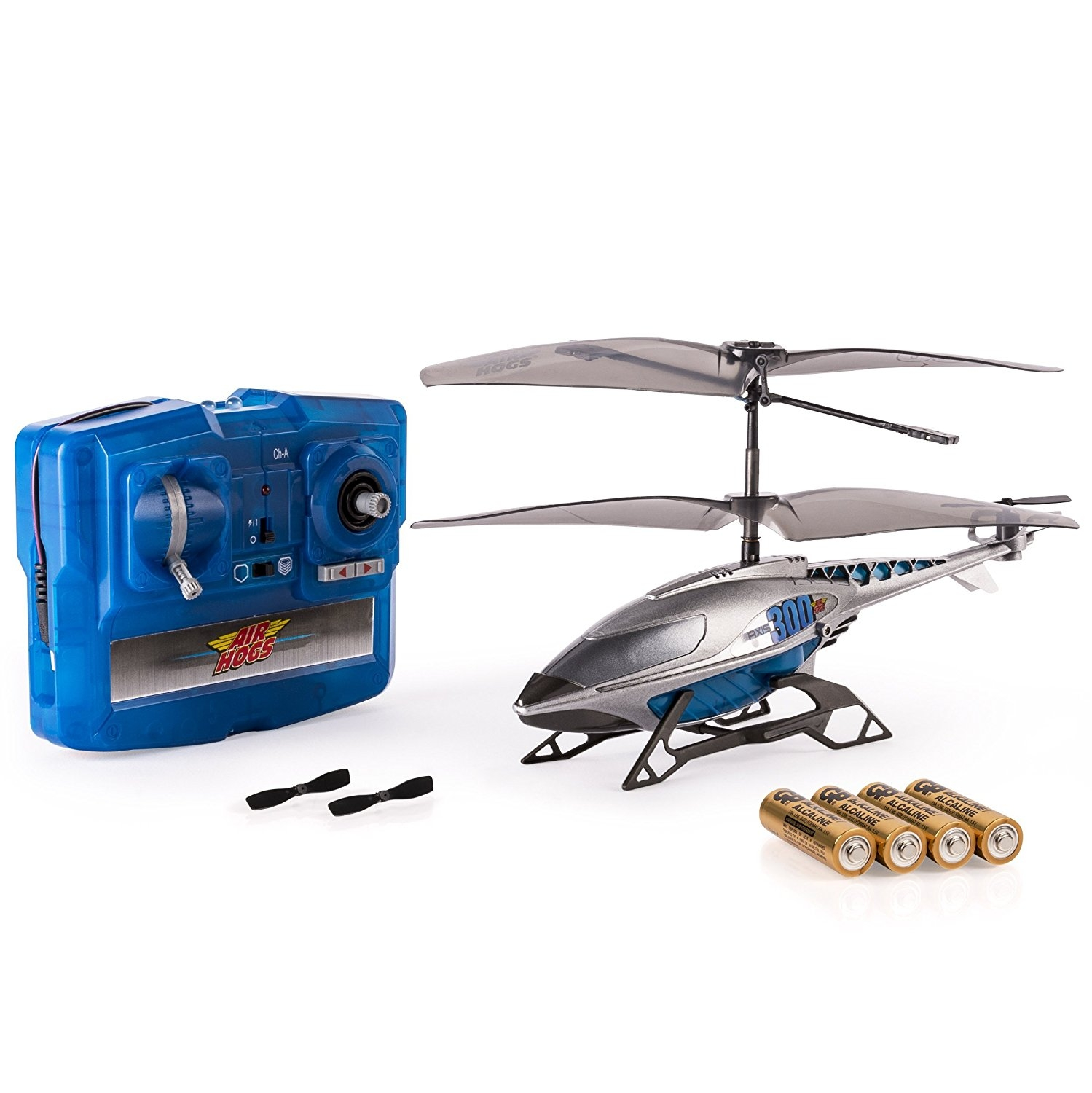 Air Hogs, Axis 300x RC Helicopter With Batteries Silver & Blue by SPIN MASTER