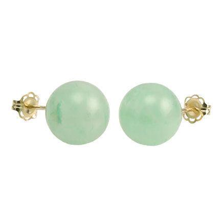 Trustmark 14/20 Gold Filled 10mm Natural Green Jade Aventurine Ball Stud Earrings