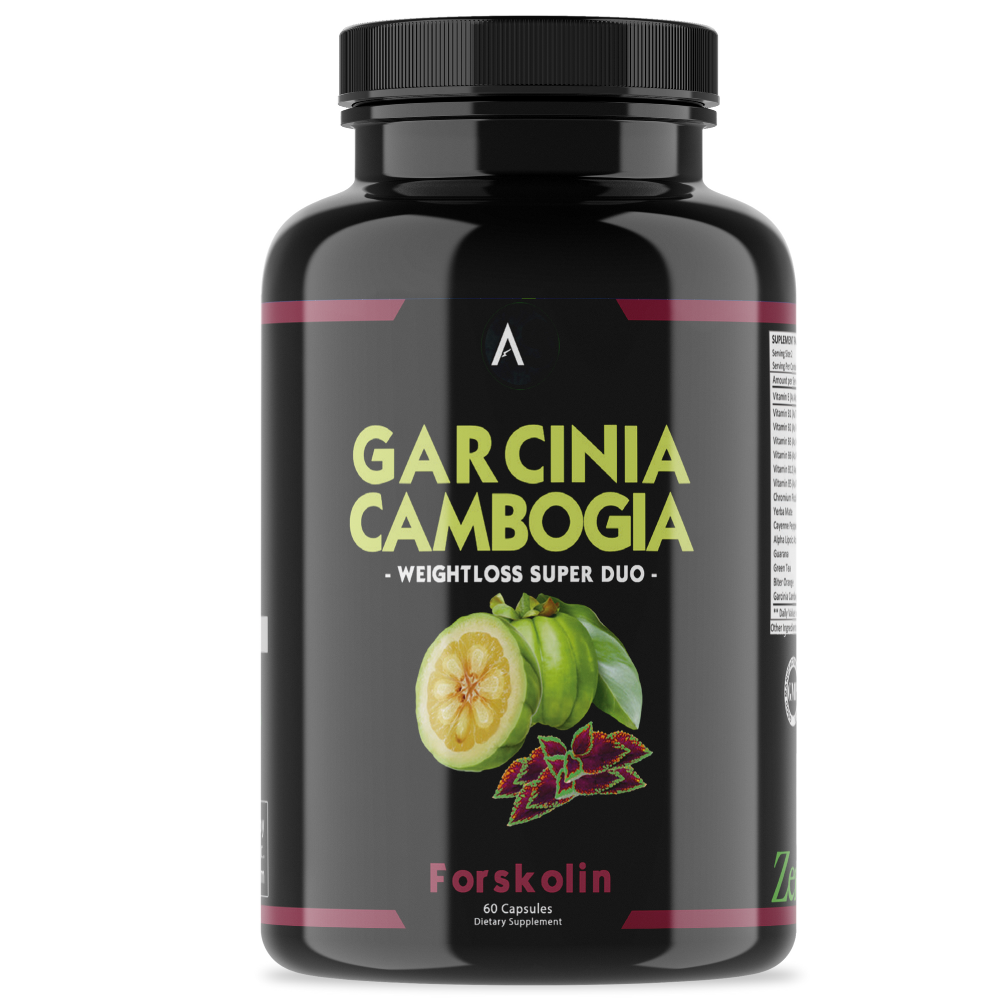 Angry Supplements Garcinia Cambogia with Forskolin Weight Loss Pills, 60 Ct