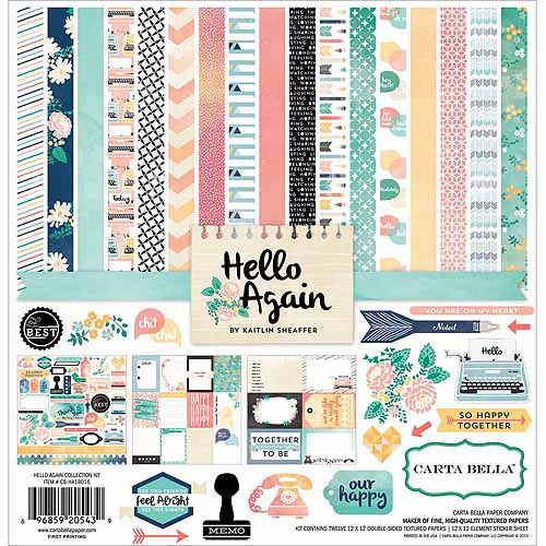 "Echo Park Paper Hello Again Collection Kit, 12"" x 12"""