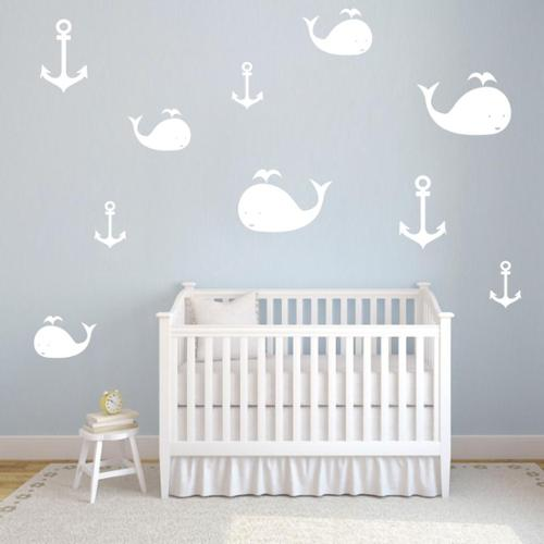 Sweetums Set of Whales and Anchors Wall Decals