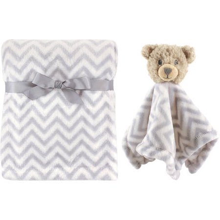 Hudson Baby Boy and Girl Plush Blanket and Security Blanket Gray Bear