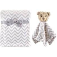 Hudson Baby Boy and Girl Plush Blanket and Security Blanket - Blue