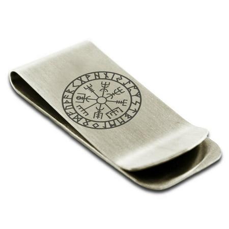 Stainless Steel Icelandic Vegvisir Viking Rune Engraved Money Clip Credit Card Holder Minnesota Vikings Clip Holder