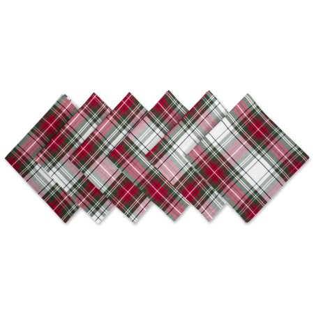 DII Christmas Plaid 100% Cotton Oversized Napkin for Holidays, Family Gatherings, & Christmas Dinner - Set of 6 (20x20