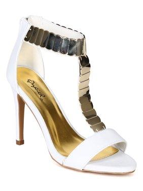 0492edb68d0 Product Image Qupid Grammy-15 New Women Emboss Open Toe Golden Plating T  Strap Stiletto Sandal