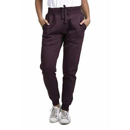 Unisex Active Wear Premium Jogger Fleece Sweatpants Wine Heather(Maroon)