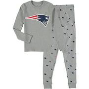 New England Patriots Youth Long Sleeve T-Shirt & Pants Sleep Set - Heathered Gray