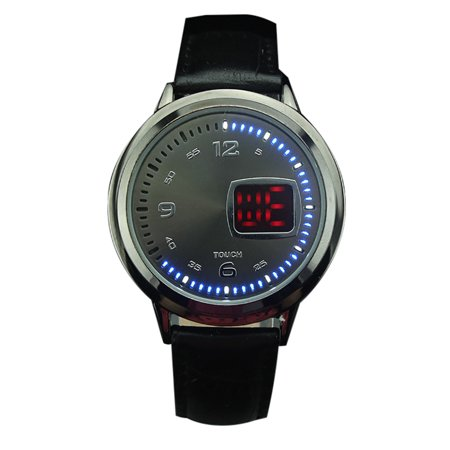 Mens Watches  Coxeer Touch Screen Led Wrist Watch Leather Strap Binary System Technological Creative Casual Watches For Gift