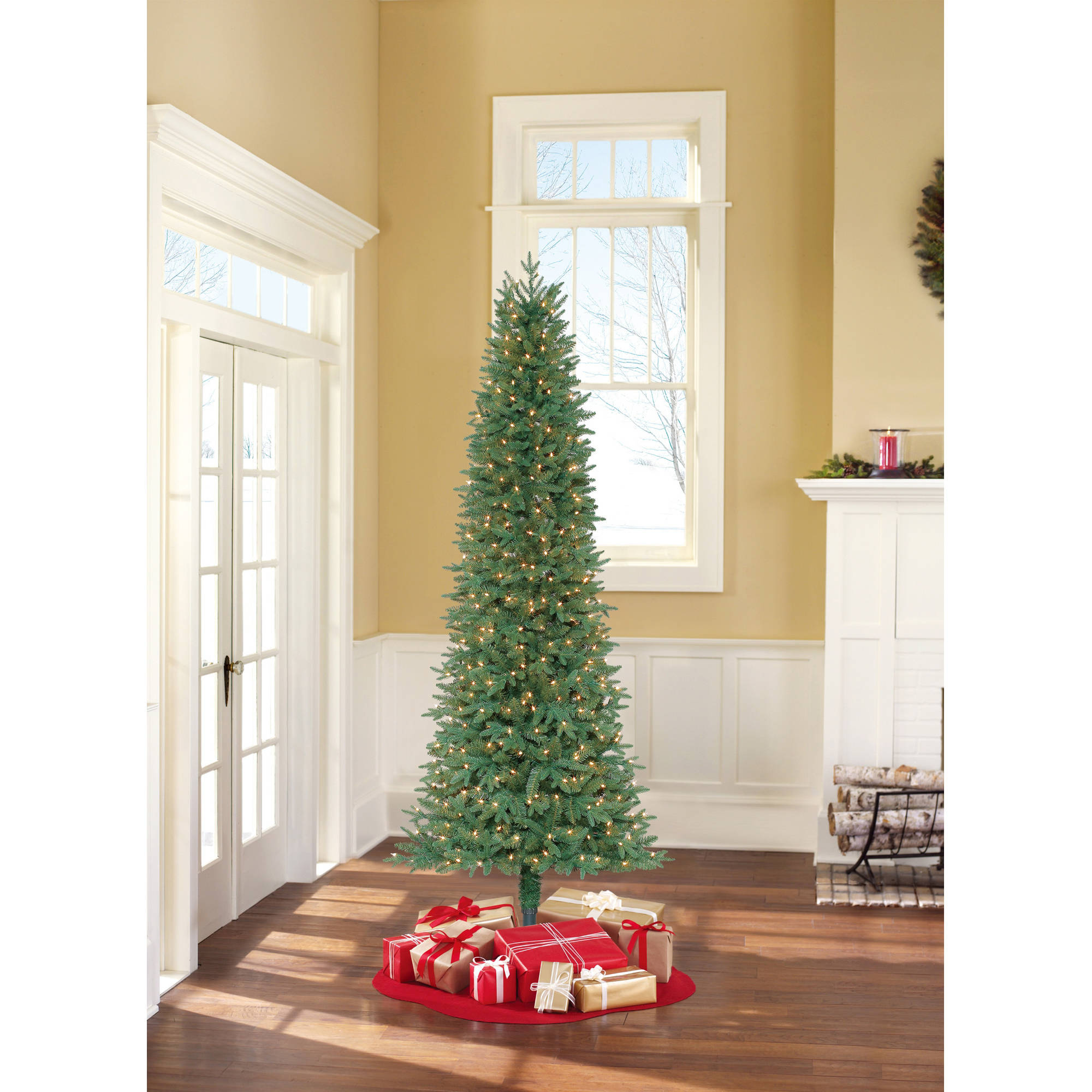 Holiday Time Pre-Lit 7.5' Sanford Fir Artificial Christmas Tree, Clear Lights