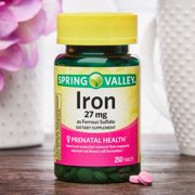 Spring Valley Iron Ferrous Sulfate Tablets, 27 mg, 250 count