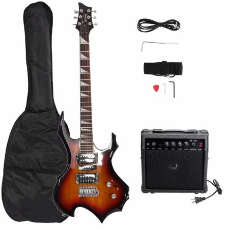 6-String Electric Guitar Beginner Starter Kit with Portable Amp, Gig Bag, Strap, Cable and Picks - Sunset Color