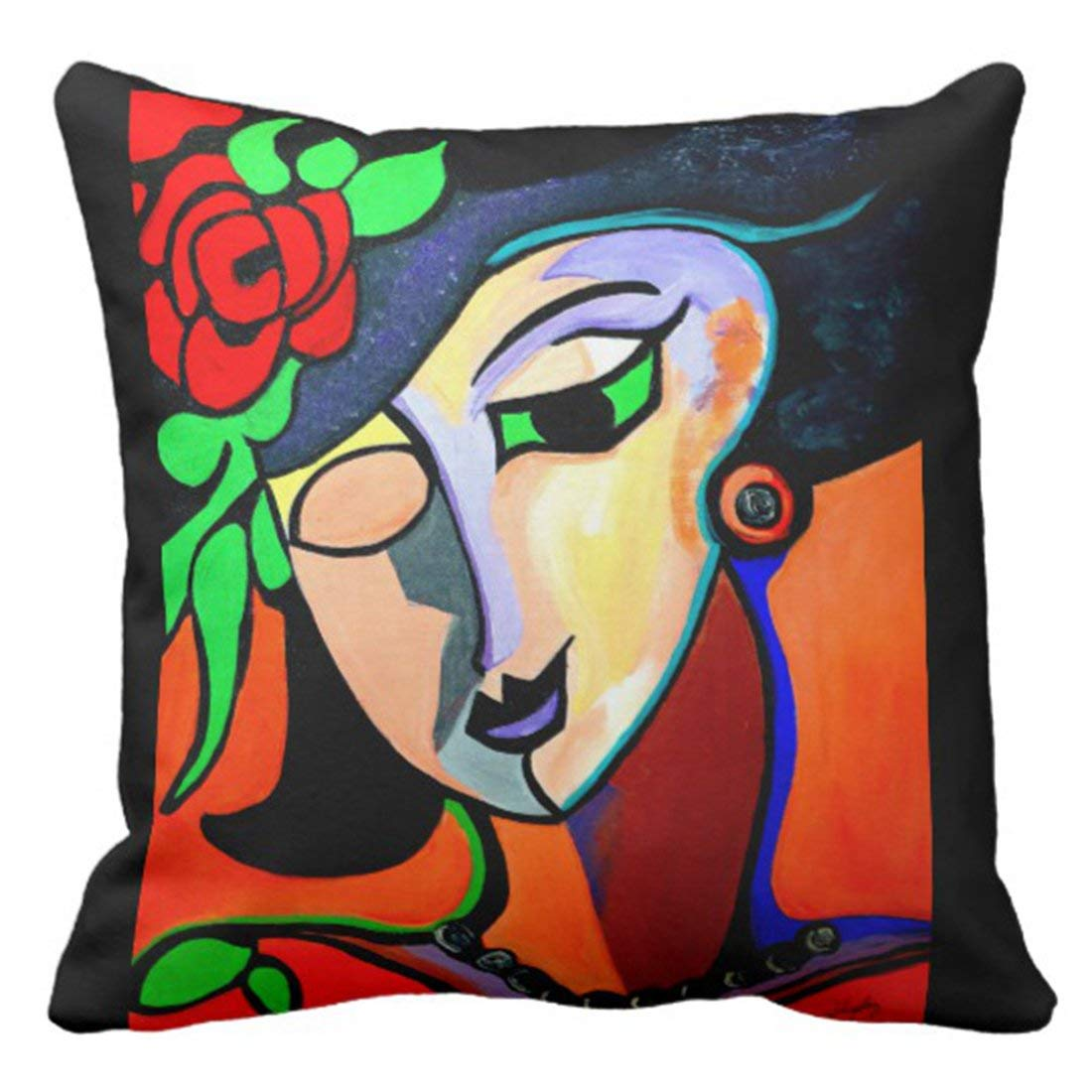 WOPOP Colorful Fun Picasso By Miss Rose Painting Pillowcase Cushion Cover 18x18 inches