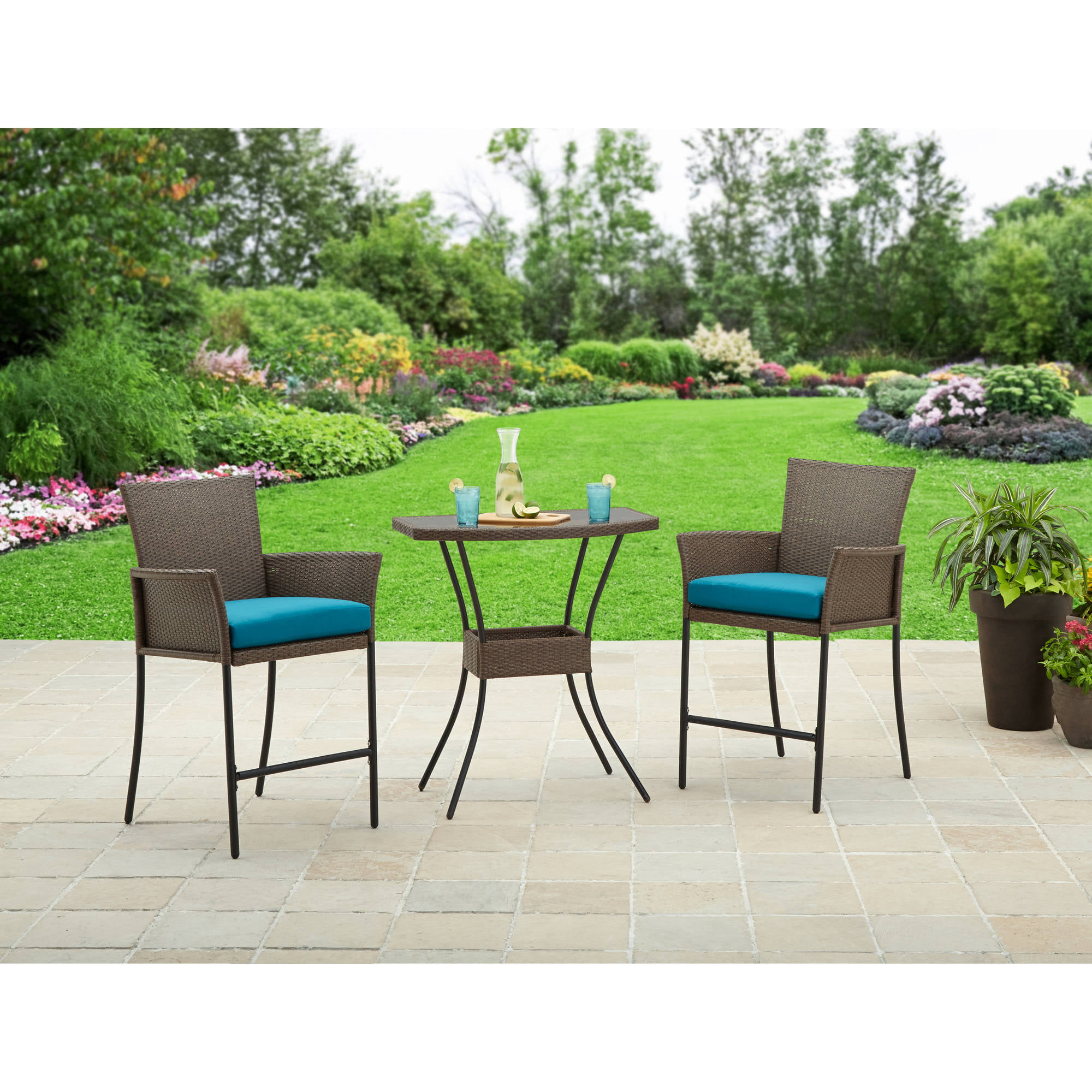 better homes and gardens fairfield bay 3 piece balcony bistro set walmartcom - Garden Furniture 3 Piece