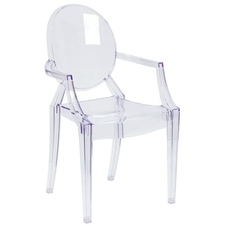 Flash Furniture Transparent Crystal Ghost Chair with Arms Acrylic Clear Cradle Chair