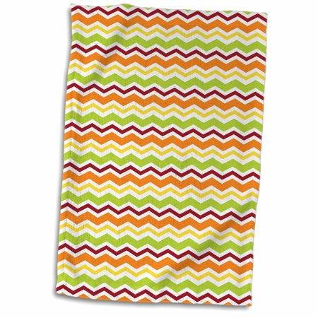 3dRose Green, Rust, Orange, Yellow Small Chevron Stripes - Towel, 15 by 22-inch